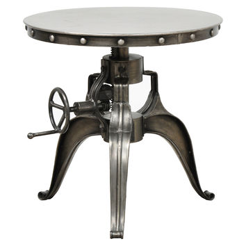 "Ayden Crank Side Table 22"", Nickel, Standard Side Tables"