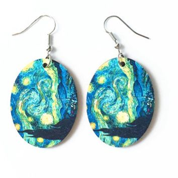 Vintage Van Gogh Oil Painting Drop Earrings (Abstract Image in Blue Backdrop)