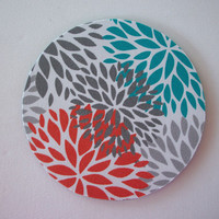 mousepad / Mouse Pad / Mat round or rectangle -  Blooms - orange, grey, teal, and white