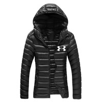 """Under Armour""Newest Winter Fashion Women Casual Brief Paragraph Sport Light Thin Outdoor Hooded Zipper Cardigan Sweatshirt Down Jacket Coat Windbreaker Black I13874-1"