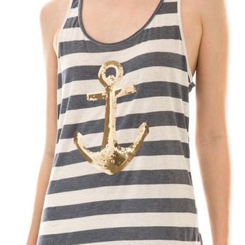 Sequin Anchor Striped Tank Top--Faded Navy/Gold