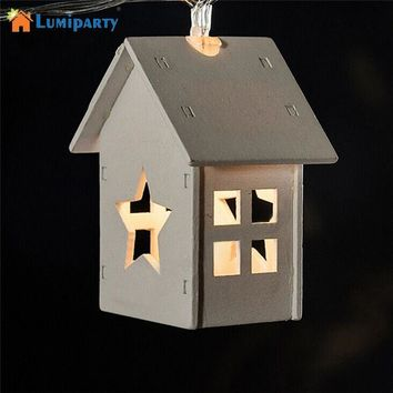 Battery Operation Wooden Star Lights 10LED Wood House Christmas Decorative Lights Outdoor Christmas Lights For Party