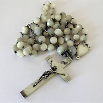 Antique French, Mother Of Pearl and Hallmarked Silver, Large Rosary, Wedding Rosary, SHIPPING INCLUDED