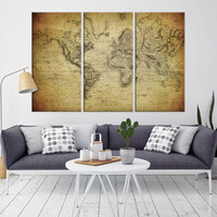 87763 - Large Wall Art World Map Canvas Print - World Map Wall Art -  World Map Poster Print