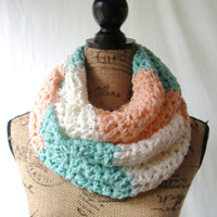 Ready To Ship Mint Peach Ivory Cowl Scarf Fall Winter Women's Accessory Infinity Scarf