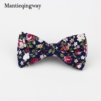 Mantieqingway Men's Cotton Floral Bowtie Brand Popular Apparel Neckwear Casual Mens Business Bow Ties for Men Wedding 6cm Cravat