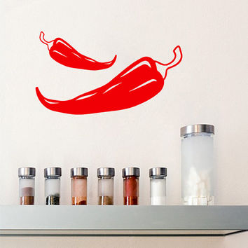 Red Hot Chili Peppers Wall Decals Food Kitchen Vegetables Wall Decor Cafe Vinyl Sticker Home Decor Interior Design Living Room Decor KG914