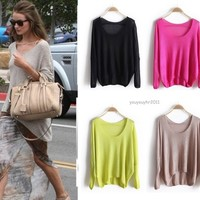 Women Knitted Batwing Lady Casual Loose Asymmetric Pullover Sweater Coat Tops