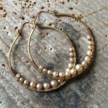 Wire Wrap Hoop Earrings Pearl Earrings Large Hoop Earrings Rustic Jewelry Daniellerosebean Big Hoops