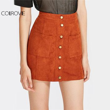 COLROVE Suede Mini Pencil Skirt Women Button Up Brown Patch Pocket Elegant Summer Skirts 2017 New High Waist Plain Casual Skirt