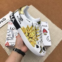 Dolce&Gabbana DG White Black Gold Print Low-Top Sneakers - Best Deal Online