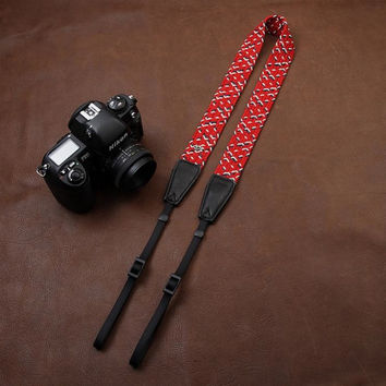 Fashion Weaving Style Red DSLR Sony Nikon Canon Handmade Leather Camera Strap 8796