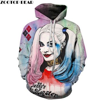 Harlley Quinn Hoodies 3D Hoodies Men Sweatshirts Movie Funny Pullover Hooded Tracksuits Fashion Novelty Joker Printed Male Coats