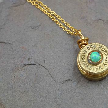 Copy of Brass Bullet Necklace with Green Opal