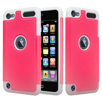 Apple iPod Touch 5 / Touch 6 Case, Heavy Duty Dual Layer Armored Protective Hybrid Case Cover For iPod Touch 5 / Touch 6 - Pink/Grey