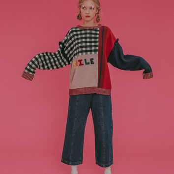 Tyakasha Love Smile Color Block Sweater