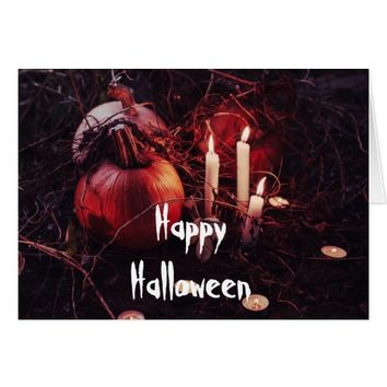 Rustic Halloween Pumpkin and Candles Card