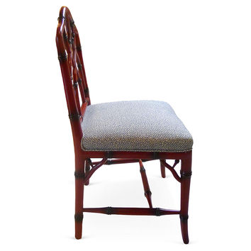 Red Faux-Bamboo Side Chairs,  S/6