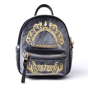 Luxury Vintage Cow Leather Mini backpack Female Fashion Embroidered Daily Top-handle Shoulder bag for Teenage Girls
