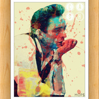 "A BOY NaMED CASH (Johnny Cash) 8x10"" Digital Illustration High Gloss Print by MoPS"