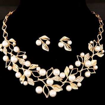 "20"" gold cream faux pearl crystal necklace .75"" earrings"