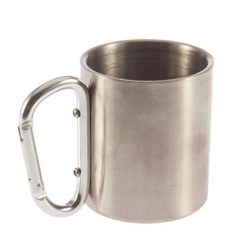 1pc Steel Camping Cup Mug 180ml Traveling Carabiner Aluminium Hook Double Wall Stainless Drop shipping