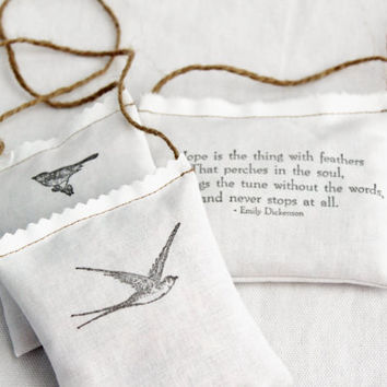 Hope Is Organic Rose Sachet Set Emily Dickenson Quote by Gardenmis