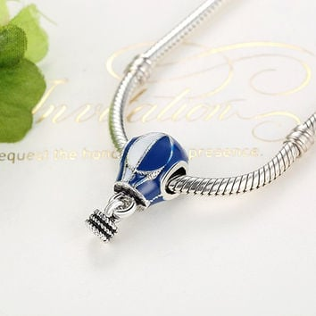 Dark Blue&White Hot Air Balloon Enamel Dangle fit Pandora Bracelet