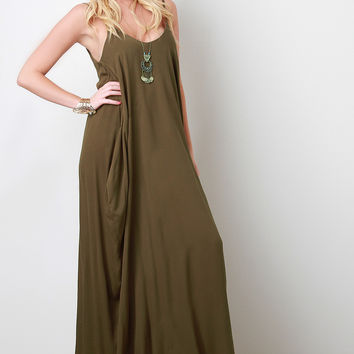 Sleeveless Crepe Maxi Dress