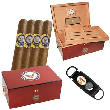 Navy Gift Set One American Emblems Navy Humidor and Cigars