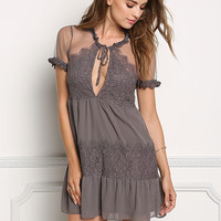 Charcoal Sheer Lace Trim Babydoll Dress