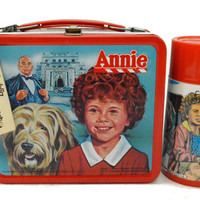 Vintage 80s Annie New with Tag Aladdin Metal Lunchbox with Thermos