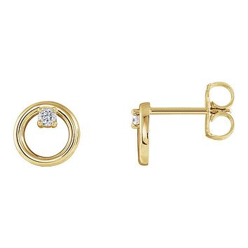 7.25mm 14k Yellow Gold .06 CTW (G-H, I1) Diamond Circle Post Earrings
