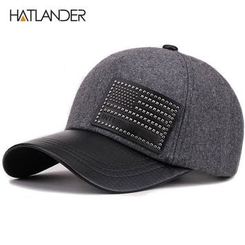 Thick Wool Baseball Caps For Men Women Winter Hat Solid Faux Leather Baseball Cap Warm Snap back Hats