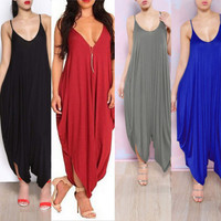HotCasual Women NEW V-neck All In One Beach Harem Jumpsuit Romper Playsuit Pants