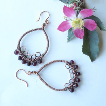 Copper dangle earrings - wire wrapped garnet gemstones