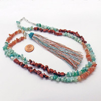 Tassel Amazonite Goldstone Sunstone Desert Charm Long Necklace Natural Stone Rustic