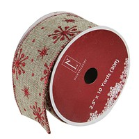 "Pack of 12 Red Snowflake and Beige Burlap Wired Christmas Craft Ribbon Spools - 2.5"" x 120 Yards Total"