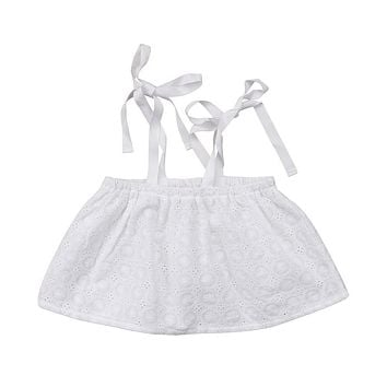 Cute Kids Lace Strap Crop Tops For Girls New White Baby Girl Sleeveless T-shirts Summer Baby Girls Clothes