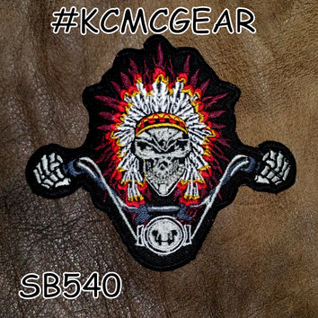 Indian Biker Skull in Headdress Small Badge Patch for Vest jacket SB540