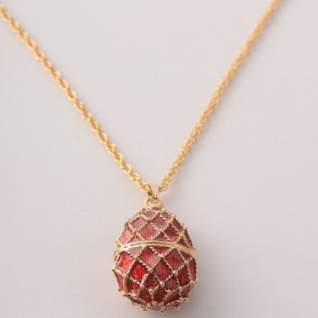 Red Egg Pendant Necklace Faberge Styled Handmade by Keren Kopal Enamel Painted Decorated with Swarovski Crystals