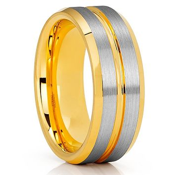 Men's Tungsten Wedding Band - Yellow Gold Tungsten - 8mm Tungsten Ring