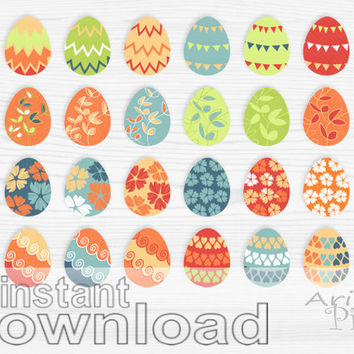Easter eggs clip art set, spring holiday, colorful, patterned, clipart, small business use, digital elements, instant digital download