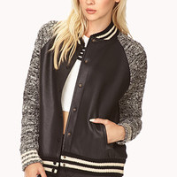 Warm Cable Knit Varsity Jacket