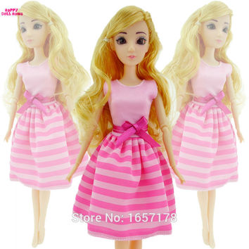 Free Shipping Handmade 1 Set Cute Fashion Pink Dress Clothes Skirt Outfit For Barbie Original Doll Accessories Girl' Gift Toys A