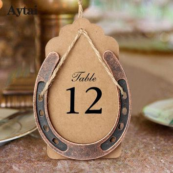 Aytai Metal Horseshoe Wedding Gifts Souvenirs Wedding Table Centerpieces Kraft Paper Tags DIY Blank Card Baby Shower Souvenir
