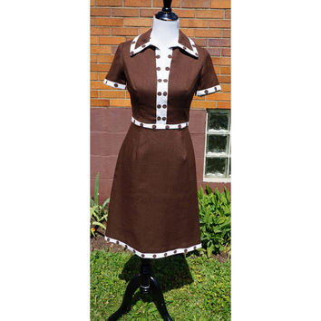 Vintage Mod Dress, Chocolate Brown Linen, Polka Dots Trim, 60s Midcentury, Fitted, Lined, Day Dress, Summer, Short Sleeve