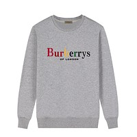 Burberry New fashion multicolor letter couple long sleeve top sweater Gray