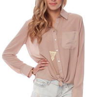 Daniella Button Down Blouse in Latte :: tobi