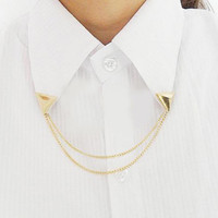 New Arrive Hot Spike Stud Blouse Shirts Collar Neck Tip Brooch Pin Chain Punk For Women Fashion Jewelry HB88